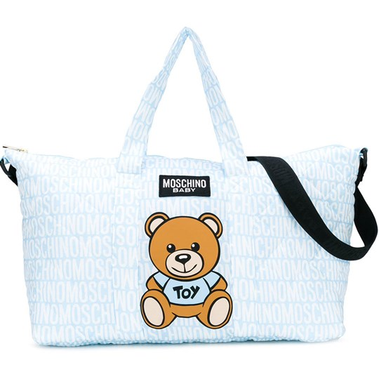 b85677fa9d Moschino Kid-Teen - Blue All Over Branded Bear Changing Bag with Mat ...