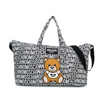 Moschino Kid-Teen Black All Over Branded Bear Changing Bag with Mat 83190