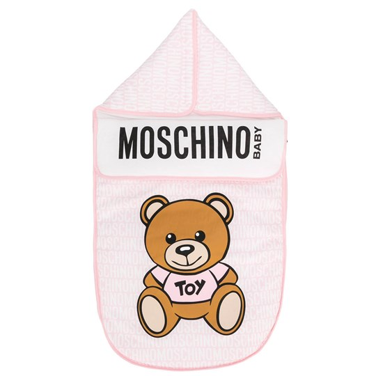 Moschino Kid-Teen Pink All Over Branded Bear Nest 83193