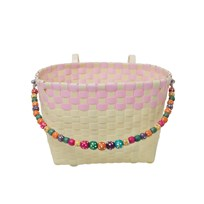 Rice Kids Woven Plastic Bicycle Basket in Cream with Soft Pink Border Cream/Pink