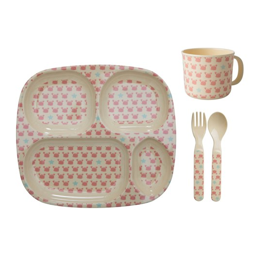Rice Baby Melamine Dinner Set with Crab and Starfish Prints coral/cream