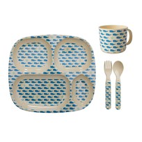 Rice Baby Melamine Dinner Set Whales and Starfish Prints blue/cream