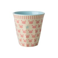 Rice Small Melamine Cup with Crabs and Starfish Print coral/cream