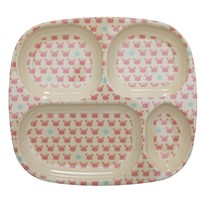 Rice Melamine Divided Plate with Crabs and Starfish Print coral/cream