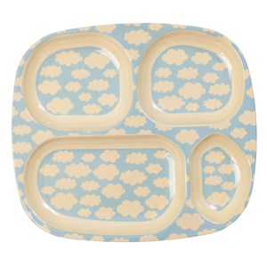 Rice Melamine Divided Plate with Cloud Print