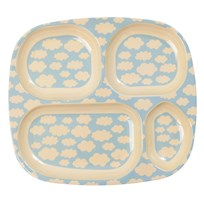 Rice Melamine Divided Plate with Cloud Print cream/soft blue