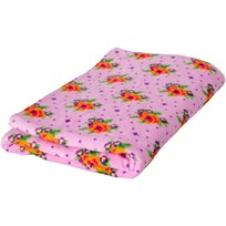 Rice Pink Bath Towel with Cross Stitch Rose Print Soft Pink