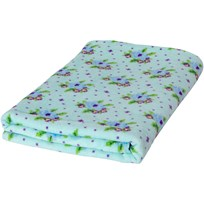 Rice Mint Bath Towel with Cross Stitch Rose Print Turquoise