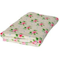 Rice Cream Bath Towel with Cross Stitch Rose Print Cream