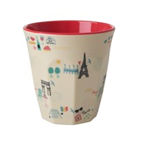 Rice Medium Melamine Cup Paris Print Red/cream