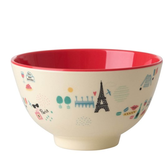 Rice Small Melamine Bowl with Paris Print Red/cream