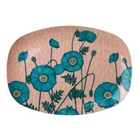 Rice Rectangular Melamine Plate with Blue Poppy Print PINK/BLUE