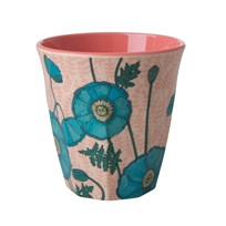 Rice Medium Melamine Cup Blue Poppy Print PINK/BLUE