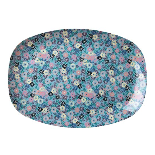 Rice Rectangular Melamine Plate with Small Flower Print blue/cream