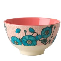Rice Small Melamine Bowl with Blue Poppy Print PINK/BLUE