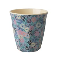 Rice Medium Melamine Cup Small Flower Print blue/cream