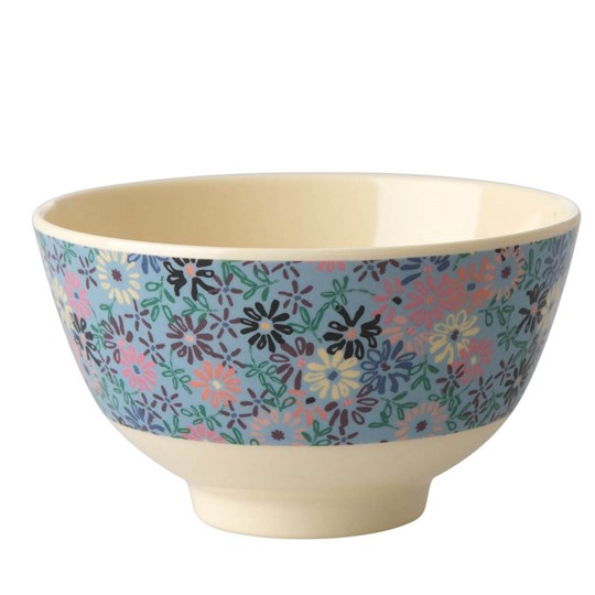 Rice Small Melamine Bowl with Small Flower Print blue/cream