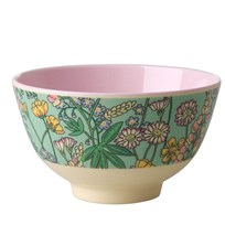 Rice Small Melamine Bowl with Lupin Print soft pink/mint