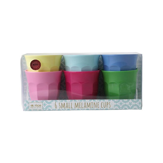 Rice 6-Pack Small Melamine Curved Cups Classic Colors classic color