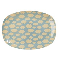 Rice Small Rectangular Melamine Plate with Cloud Print cream/soft blue