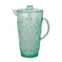 Rice Large Swirly Embossed Acrylic Jug in Pastel Green Green
