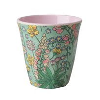 Rice Medium Melamine Cup Lupin Print soft pink/mint