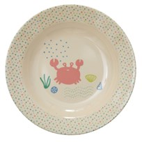 Rice Melamine Bowl with Ocean Life Print Coral/Blue