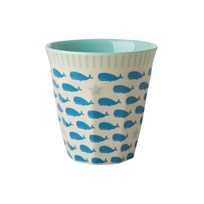 Rice Small Melamine Cup with Whales and Starfish Print blue/cream
