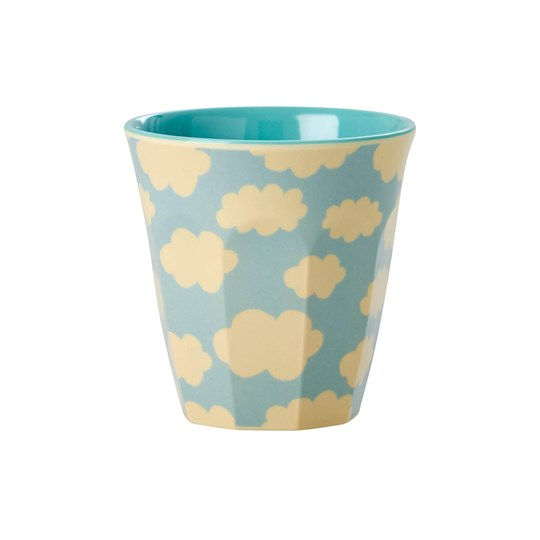Rice Small Melamine Cup with Cloud Print cream/soft blue