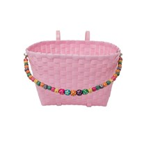 Rice Kids Woven Plastic Bicycle Basket in Pink Pink
