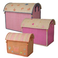 Rice Large Set of 3 Toy Baskets with Fairytale Theme Pink Pink/Coral