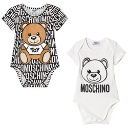 Moschino Kid-Teen 2 Pack of White Bear Print and All Over Print Bodies in Gift Box