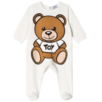 Moschino Kid-Teen White Big Bear Print Footed Baby Body Gift Box 10063