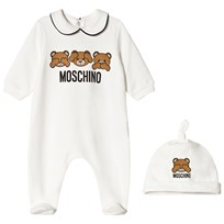 Moschino Kid-Teen White Bears Print Footed Baby Body and Hat Gift Box 10063
