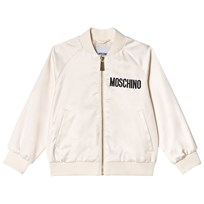 Moschino Kid-Teen Cream All Over Satin Bomber Jacket with Sequin Bear 60127