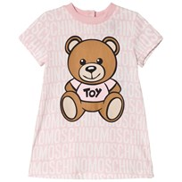 Moschino Kid-Teen All Over Branded and Bear Print Klänning Rosa 83193