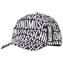 Moschino Kid-Teen Black and White All Over Branded Cap 83190