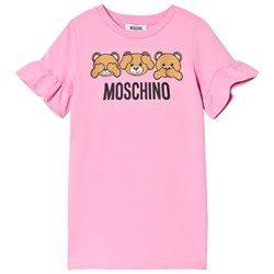 Moschino Kid-Teen Pink Three Bears Print Frill Sleeve Dress