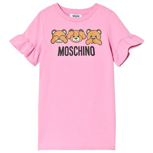 Moschino Kid-Teen Pink Three Bears Print Frill Sleeve Dress 50119