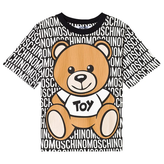 Moschino Kid-Teen Black Bear and Logo Print Tee 83190