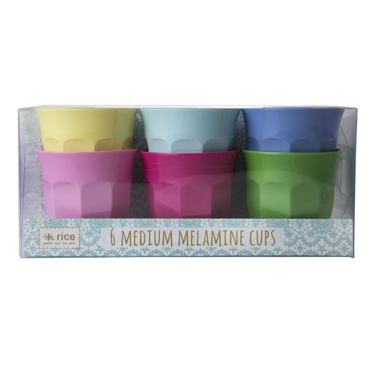 Rice 6-Pack Medium Melamine Curved Cups Classic Colors classic color