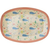 Rice Small Rectangular Melamine Plate with Ocean Life Print Coral/Blue