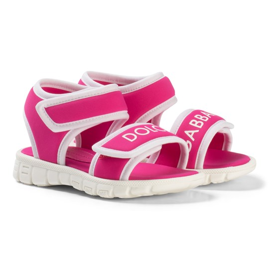 Dolce & Gabbana Pink and White Branded Velcro Sandals 8D400