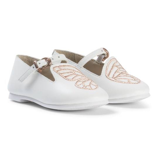 Sophia Webster Mini Bibi White Leather Embroidered Butterfly Shoes White/ Rose Gold