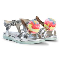 Sophia Webster Mini Silver Metallic Strawberry Loni Ice Cream Sandals Rainbow Sherbet