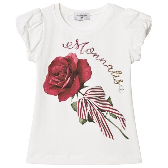 Monnalisa Bow and Rose Embroidery Topp Vit 01
