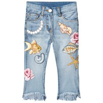 Monnalisa Light Wash Embroidered Seaside and Pearl Jeans 62