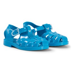 Emporio Armani Turquoise Logo Ruber Jelly Shoes