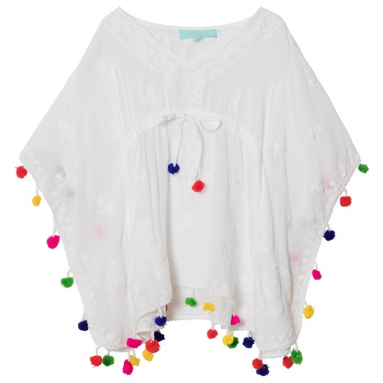 Melissa Odabash White Embroidered Sharize Pom Pom Kaftan White/multi