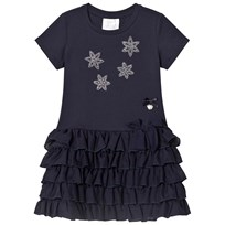 Le Chic Navy Flower Diamante Ruffle Dress 190